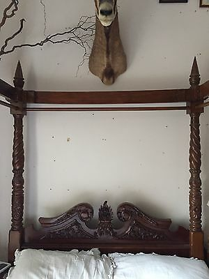 Antique Mahogany Dark Wood Queen Anne Style carved - Four Poster Double Bed