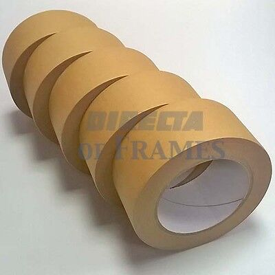5 x 50mm 50M Self Adhesive Backing Paper Tape Picture Framing Canvas Craft Brown