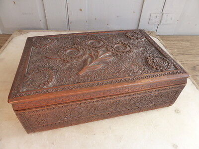 Antique Indian wooden carved box