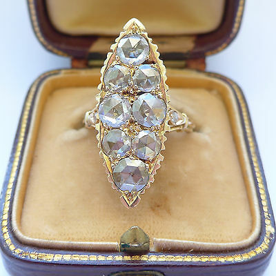 Antique Diamond Ring Old Rose Cut 2 - 3 Carats C.1830 Georgian Ring 18ct Over 1""