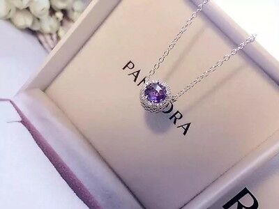 Perfect Gift Genuine Pandora S925 Radiant Heart Purple Crystal Necklace45cm