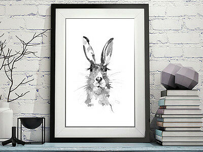 Hare Voleika Art Original Watercolour Modern Print Signed Black N White Abstract