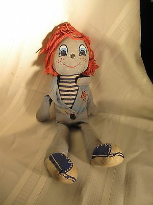 Vintage Knickerbocker LEVI'S Big E Denim Rag Doll REDHEAD
