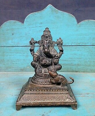 Antique, Vintage Indian Bronze. Ganesha. Revered Elephant-Headed Hindu Deity.