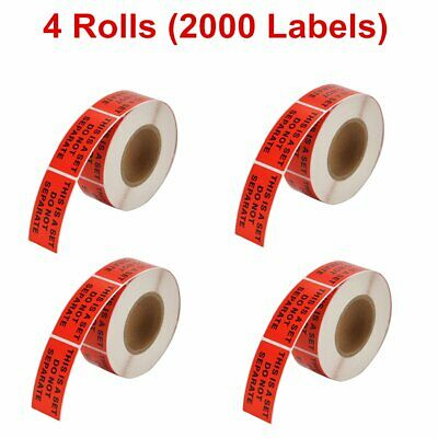 "4 Rolls 500/Roll 1"" X 2"" This Is a Set Do Not Separate Shipping Stickers Labels"