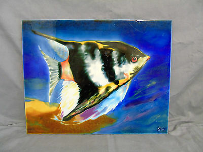 hand painted art pottery tile