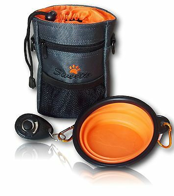 Dog Treat Bag Pouch Puppy Walking Training Bag Strap Cliker Water Bowl Set