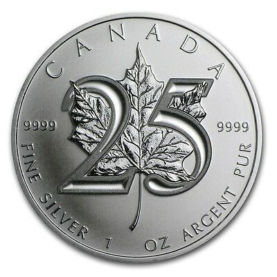 2013 1oz Silver Maple Leaf 25th Anniversary FlexSeal $5 9999 Fine Silver BU Coin