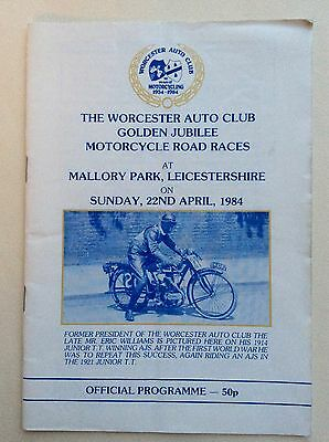 Mallory Park, Motor Cycle Road Races Programme, Worcester Auto Club, 1984