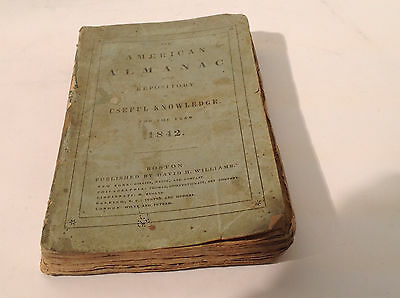 American Almanac and Repository of Useful Knowledge 1842 1st ed 1st printing 8