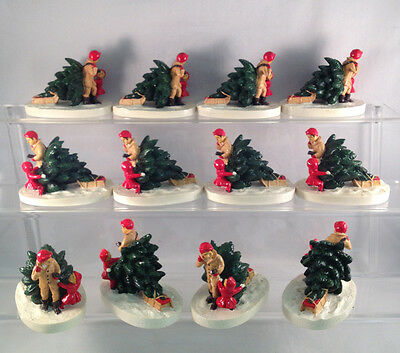 Lot of 12 Bringing Home the Tree Figurines - Great Christmas Gifts or Resale!