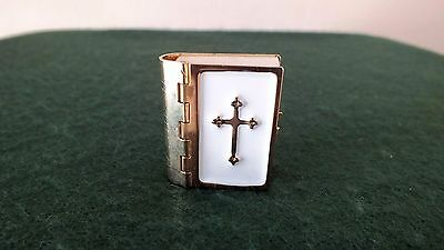 Printed Miniature Bible - Real Print - Enamel Front With Cross - Religious Book