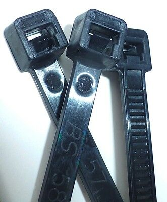 """4"""" to 14"""" UV BLACK NYLON WIRE CABLE ZIP TIES TIE WRAP, USA, Qty's 100 to 1000"""