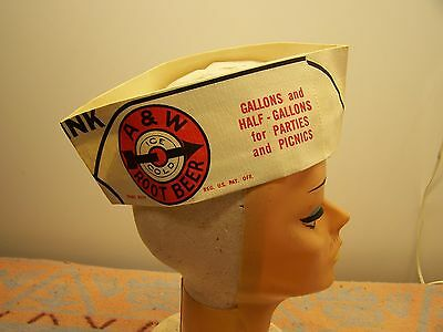 1953 A&w Drive In Paper Car Hop Soda Jerk Hat Cap Beanie Unused Nos
