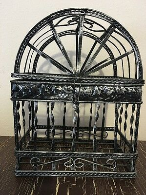 Decorative Hanging Metal / Wire Bird Cage with Black Brushed Silver