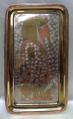 Gorgeous Antique Egyptian Metal Wall Hanging w. Ramesses II & Nefertari Designs