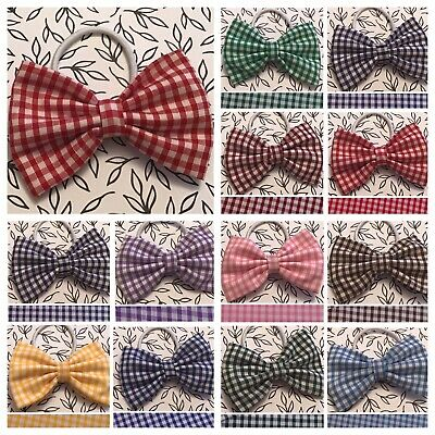 "Small3"" Gingham Check Cotton Fabric Bow Ponytail Band Elastic Hair Bobble School"