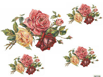 XL ShaBby TriPLe RoSeS BouQueT WaTerSLiDe DeCALs *FuRNiTuRe SiZe*