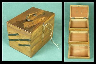 Vintage JAPANESE JEWELLERY/ TRINKET BOX - MARQUETRY/ Three Compartments