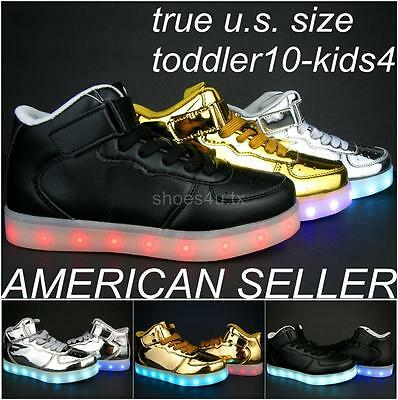 Kids Toddler LED Light Up Sneakers Shoes USB Charger High Top Boy Girl PU Boots