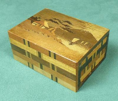 Vintage JAPANESE PUZZLE BOX - MARQUETRY - SPRING LOADED COMPARTMENT