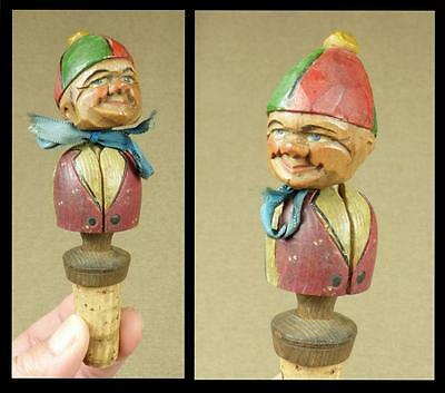 """ANRI, Early 1930's """"BOBBLE-HEAD"""" Carved Wooden BOTTLE STOPPER - Cloth Scarf"""