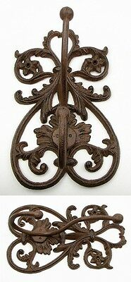 "PAIR~SET XLarge 11"" Ornate Scrolling Cast Iron Figural Coat/Hat Rack/Hooks DECOR"