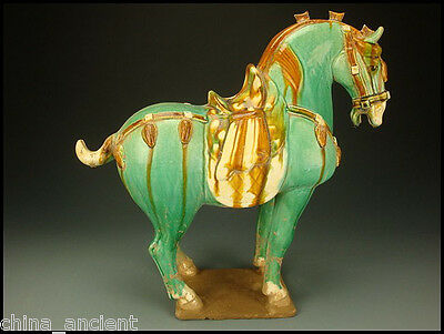 Ancient Chinese Tang Dynasty Sancai Glazed Pottery Horse Figure