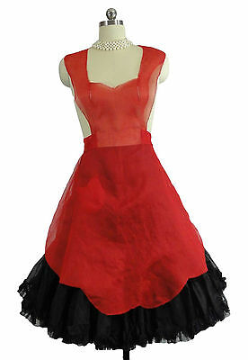 "Vtg. ""Valentines Day"" Red Chiffon Full Apron Sexy French Maid S/M"