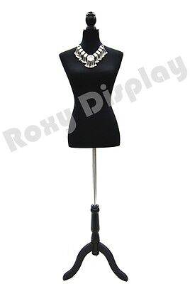Female Mannequin Dress body form with Black cover and black base #JF-PY01BK
