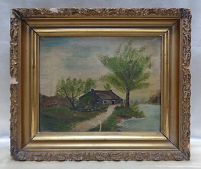 Old Estate Found Signed Home by the River Oil Painting in Ornate Antique Frame
