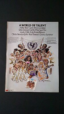 "Abba,bee Gees & More ""unicef Concert"" 1979,rare Original Print Promo Poster Ad"