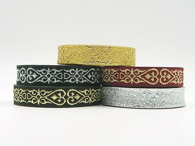 10m Jacquard Ribbon/Trim Medieval Heart 16mm width Various colours available