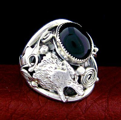 Sterling Silver Men's Wolf Head Ring With Black Onyx - Select Size --- R85