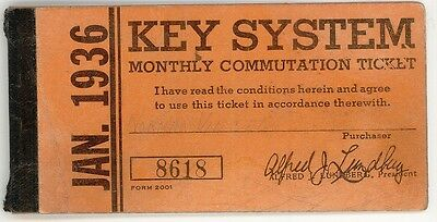 Key System Transit, Monthly Commuter Ticket book, Jan, 1936. Some tickets remain