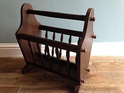 Fine Vintage Wooden Newspaper Rack - Strong Carry Handle and Shapely Rails