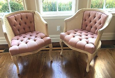 Two Cane Wicker Pink Arm Chairs Pick Up NY New York Shabby Armchairs Chic