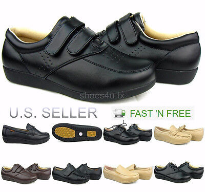 Women's Work Shoes Slip Resistant Non-Slip Service Black Brown Beige Loafer Lace
