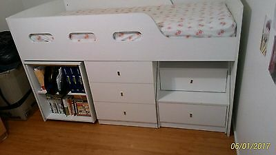 Space Saver Bed With Storage And Study Desk With Shelving