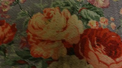 Vintage Blue Floral Nubby Barkcloth * 62 x 33 Inches