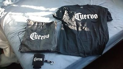 Cuervo XL black t shirt backpack knapsack koozie bottle opener tequila Jose