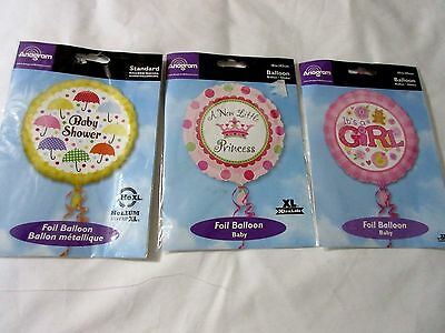 3 Anagram Foil Balloons GIRL BABY Announcement and Shower New in Package