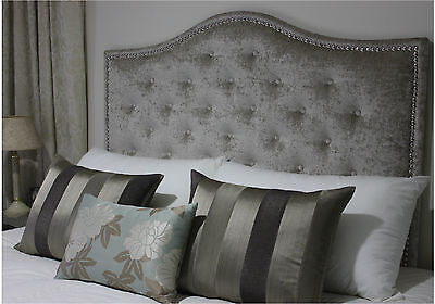 New Bed Head King Size Upholstered Bedhead / Headboard With Chrome Studs