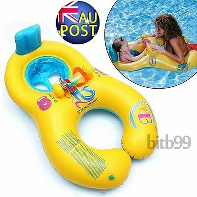 Inflatable Mother Baby Kids Swim Float Raft Kid Seat Swimming Lake Toy Ring Pool