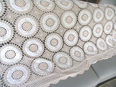 Lovely Vintage handmade Embroidered Linen Crochet Banquet TABLECLOTH 240x180
