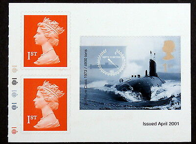 GB - 2001, Scott #1971a, Mint - Half Booklet pane of Submarines