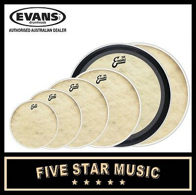 "EVANS CALFTONE + EMAD 6 PCE DRUM SKIN SET 10"" 12"" 14"" 16"" + 2x 22"" HEADS"