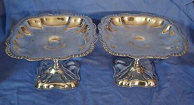 2 Antique Silverplate Compotes Tazza Dishes HandChased Engraved Canterbury c1946
