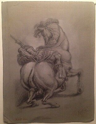 Old Italian Master Antique Drawing A dying warrior Signed Dated