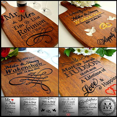 Personalised Anniversary Wedding Gift Present 25th 30 40 50th Cutting Board Wood